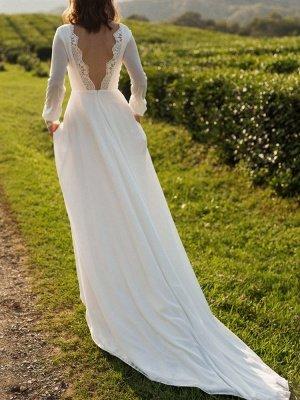Einfaches Hochzeitskleid Lycra Spandex Bateau-Ausschnitt mit langen Ärmeln Spitze A-Linie Brautkleider_5