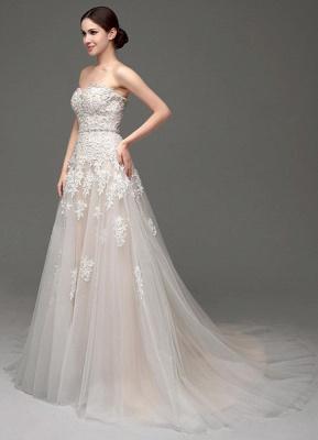 Robes de mariée Champagne Tulle Bretelles Sweatheart Dentelle Sash Robe de mariée_3