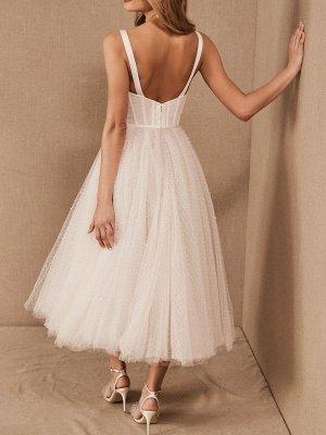 Vestido corto de novia blanco T-Length A-Line Sweetheart Perlas Correas espaguetis Vestido largo hasta el té_2
