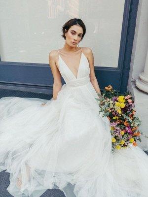 Weißes Brautkleid mit V-Ausschnitt Ärmellos mit Zug Natürliche Taille rückenfreie lange Brautkleider