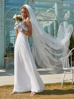 White Simple Wedding Dress Lace Jewel Neck Short Sleeves Backless Natural Waist Pleated Chiffon Lace A-Line Long Bridal Dresses_2