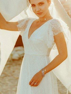 Einfache Hochzeitskleid 2021 A Lne V-Ausschnitt Kurzarm Bodenlangen Tüll Strand Hochzeit Kleider Brautkleider_2