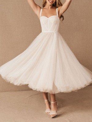Vestido corto de novia blanco T-Length A-Line Sweetheart Perlas Correas espaguetis Vestido largo hasta el té_1
