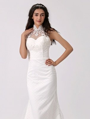Vintage Inspired Illusion Neck Sheath/Column Wedding Dress With Lace Overlay Exclusive_6