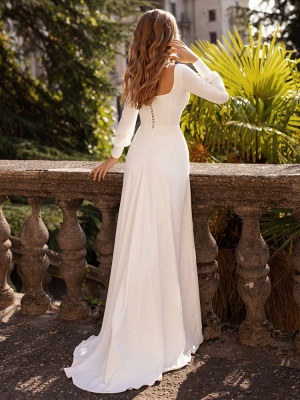 White Simple Wedding Dress Satin Fabric Square Neck Long Sleeves A-Line Floor Length Bridal Gowns_2