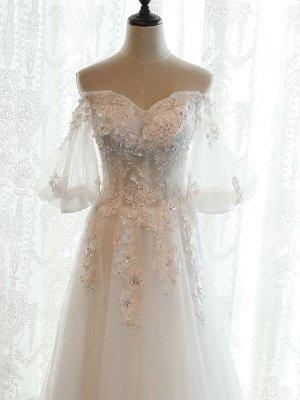 Beach Bridal Dress Ivory Off Shoulder Wedding Gowns Half Sleeve Flowers Beaded Sweetheart Neckline Maxi Wedding Dress For Summer_6