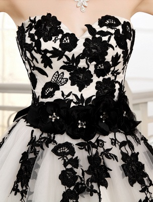 Wedding Dresses Strapless Black Bridal Gown Lace Applique Flowers Sash Beaded Court Train Ivory Tulle Bridal Dress Exclusive_6