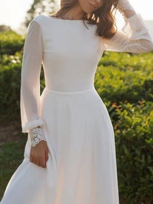 Einfaches Hochzeitskleid Lycra Spandex Bateau-Ausschnitt mit langen Ärmeln Spitze A-Linie Brautkleider_6