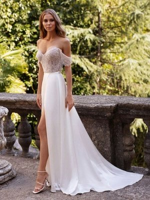 White Simple Wedding Dress Satin Fabric Strapless Sleeveless Cut Out A-Line Off The Shoulder Long Bridal Dresses_3