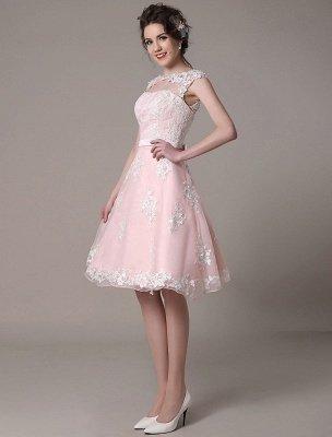 Brautkleid aus Spitze mit Cut-Out Knielang A-Linie Brautkleid mit Satinschleife Exklusiv_5