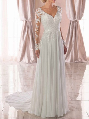 Lace Wedding Dresses 2021 Chiffon V Neck A Line Long Sleeve Lace Applique Beach Wedding Bridal Dress With Train Free Customization_3