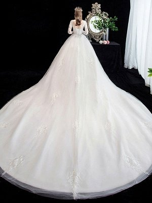 White Wedding Dress Ball Gown Cathedral Train Jewel Neck 3/4 Length Sleeves Natural Waist Applique Satin Fabric Bridal Dresses_2
