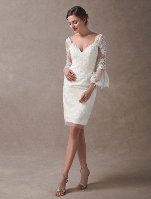 Boho Wedding Dresses Short Sheath Beach Bridal Dress Bell Sleeve Lace Applique V Neck Knee Length Summer Wedding Gowns Exclusive_4