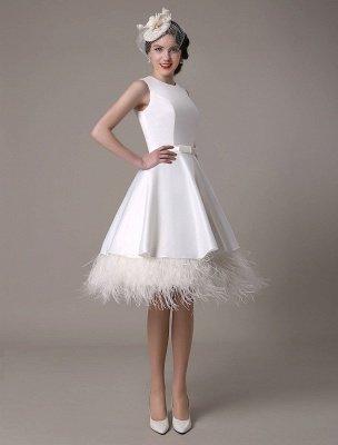 Vestido de novia de corte A hasta la rodilla Vestido de novia con lazo de satén escalonado con plumas Exclusivo_2