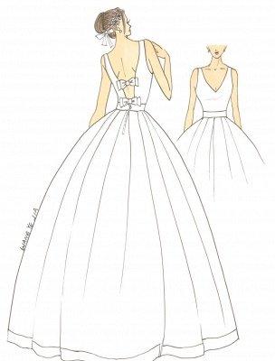 Vintage-inspiriertes Brautkleid mit tiefem V-Ausschnitt und Schleife, verziert mit Cut Out Back_3