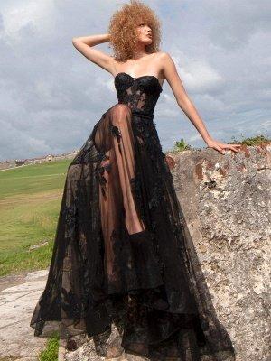 Robes de mariée gothiques noires A-ligne longueur au sol sans bretelles en dentelle sans manches robe de mariée_1