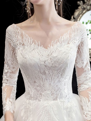 White Wedding Dress Ball Gown Cathedral Train Jewel Neck 3/4 Length Sleeves Natural Waist Applique Satin Fabric Bridal Dresses_6