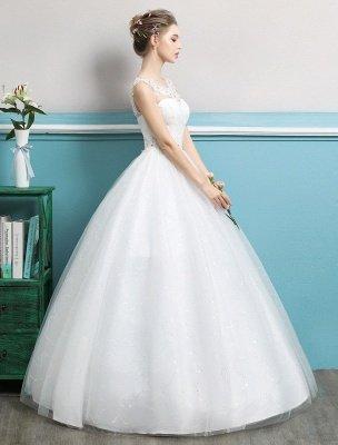 Princess Ball Gown Wedding Dresses Tulle Backless Ivory Beading Floor Length Bridal Dress_3