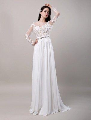Boho Beach Sheer Lace Mousseline de soie Tulle Manches longues Deep V Back Backless Robe de mariée_2
