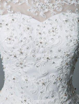 Robe de mariée vintage thé longueur bijou cou sans manches une ligne taille naturelle Tulle courte robe de mariée exclusive_7