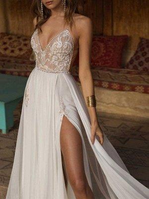 Boho Wedding Dresses 2021 Lace V Neck Sleeveless Beaded Backless Double Splits Chiffon Beach Bridal Gowns_2