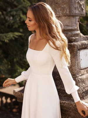 White Simple Wedding Dress Satin Fabric Square Neck Long Sleeves A-Line Floor Length Bridal Gowns_5
