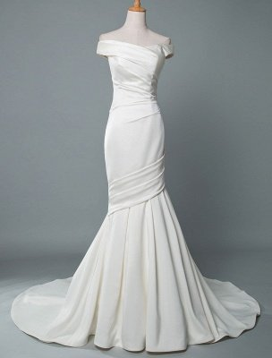 Vintage Wedding Dress Mermaid Off The Shoulder Sleeveless Pleated Satin Fabric With Train Traditional Dresses For Bride_1