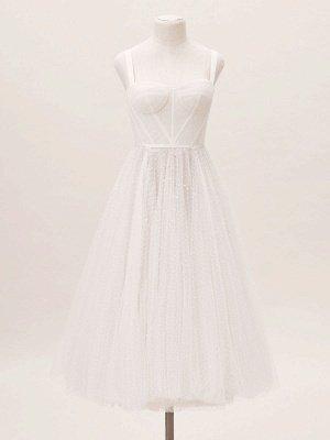 Vestido corto de novia blanco T-Length A-Line Sweetheart Perlas Correas espaguetis Vestido largo hasta el té_4