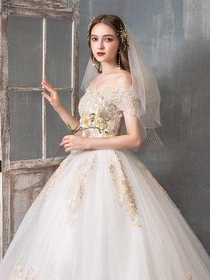 Brautkleider 2021 Ballkleid Schulterfrei Goldene Spitze Applizierte bodenlange Brautkleid_5