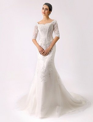 2021 Vintage Inspired Off The Shoulder Mermaid Lace Wedding Gown Exclusive_3