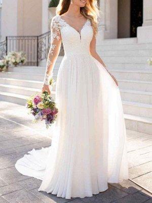 Lace Wedding Dresses 2021 Chiffon V Neck A Line Long Sleeve Lace Applique Beach Wedding Bridal Dress With Train Free Customization_1