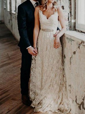 Wedding Dress Court Train A-Line Spaghetti Straps Sleeveless Lace V-Neck Backless Ivory Bridal Gowns_1
