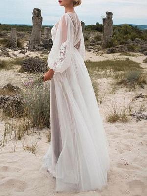 Einfaches Brautkleid A-Linie Tüll Jewel Neck Long Sleeves Lace Brautkleider_2