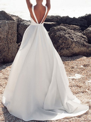 Vintage Wedding Dresses Jewel Neck Sleeveless Bows With Train Satin Fabric Bridal Gowns_1