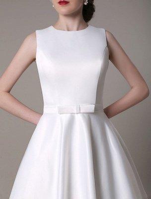 Vestido de novia de corte A hasta la rodilla Vestido de novia con lazo de satén escalonado con plumas Exclusivo_8
