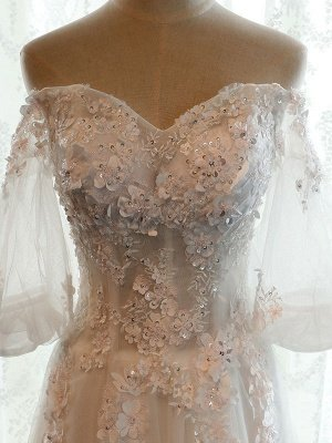 Beach Bridal Dress Ivory Off Shoulder Wedding Gowns Half Sleeve Flowers Beaded Sweetheart Neckline Maxi Wedding Dress For Summer_8