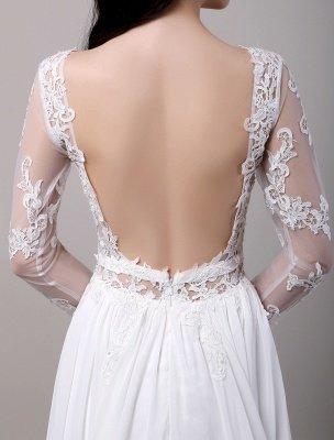 Boho Beach Sheer Lace Mousseline de soie Tulle Manches longues Deep V Back Backless Robe de mariée_9