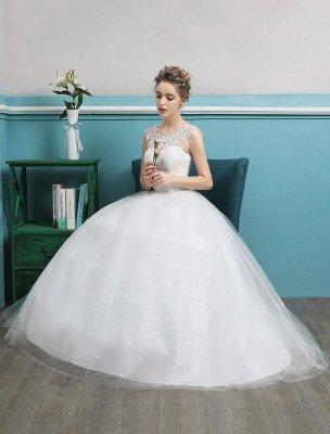 Princess Ball Gown Wedding Dresses Tulle Backless Ivory Beading Floor Length Bridal Dress_6