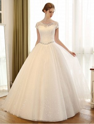 Prinzessin Ballkleid Brautkleider Spitze Pailletten Brautkleid Elfenbein Perlen Schärpe Backless Brautkleider_2