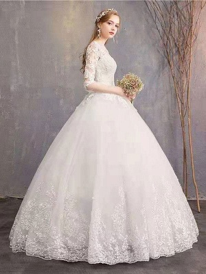 Brautkleider Eric White Jewel Neck Half-Sleeve Soft Tüll Lace Up Bodenlangen Brautkleider_3
