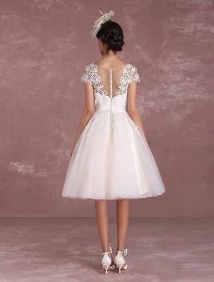 Robes de mariée vintage Robe de mariée courte en dentelle Applique Illusion Bow Sash Robe de mariée exclusive_8