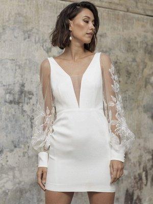 White Short Wedding Dresses V-Neck Long Sleeves Backless Sheath Cut-Outs Lace Bridal Dresses_2
