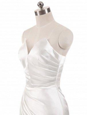 Vestidos de novia de color marfil Vestidos de noche de sirena sin tirantes Vestido de novia de playa dividido sin mangas con cuello en V y cola_5
