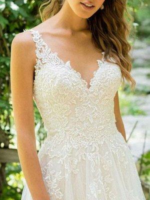 Simple Wedding Dress 2021 A Line V Neck Sleeveless Floor Length Beach Bridal Dresses With Train_3