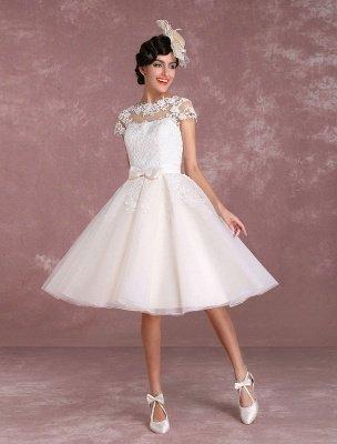 Robes de mariée vintage Robe de mariée courte en dentelle Applique Illusion Bow Sash Robe de mariée exclusive_1