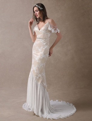 Boho Wedding Dresses Champagne Lace Beach Bridal Dress Mermaid V Neck Backless Beaded Summer Wedding Gowns Exclusive_4