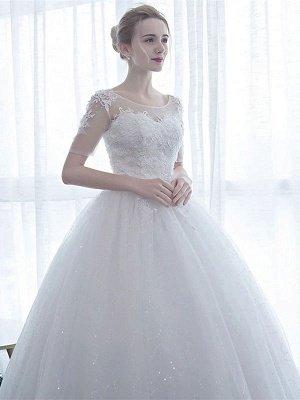 Elegant Wedding Dresses White Off The Shoulder Half Sleeves Soft Tulle Lace Up Floor Length Bride Dresses_3