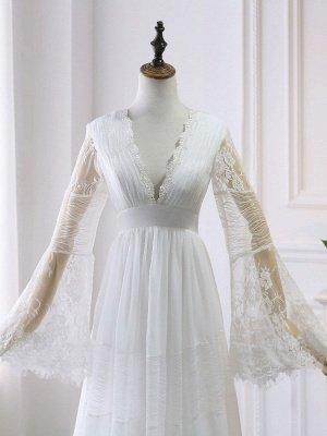 Boho Brautkleider 2021 A Line tiefer V-Ausschnitt Multilayer Lace Chiffon Beach Party Dress Brautkleider_5