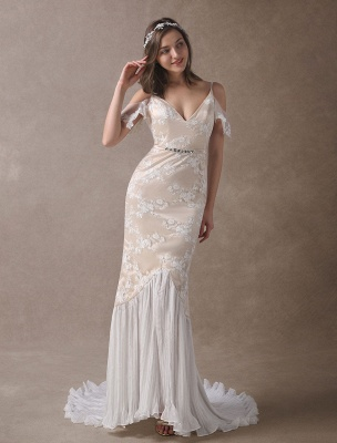 Boho Wedding Dresses Champagne Lace Beach Bridal Dress Mermaid V Neck Backless Beaded Summer Wedding Gowns Exclusive_3