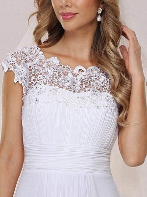 White Simple Wedding Dress Lace Jewel Neck Short Sleeves Backless Natural Waist Pleated Chiffon Lace A-Line Long Bridal Dresses_6